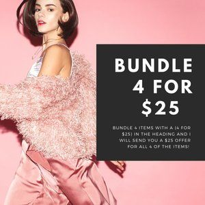Bundle 4 items with a (4 for $25) in the heading